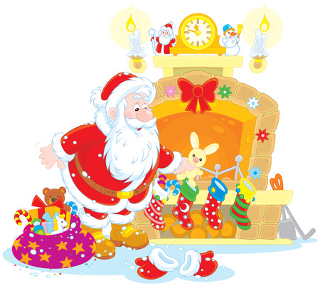 Santa Claus putting his holiday gifts into decorated socks Vector