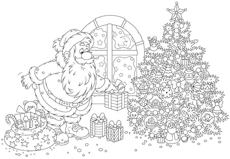 christmassy: Santa Claus putting his holiday gifts under a Christmas tree