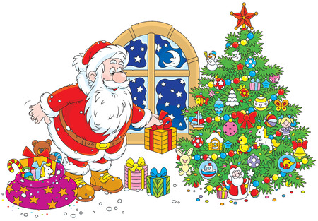 Santa Claus putting his holiday gifts under a Christmas tree Vector