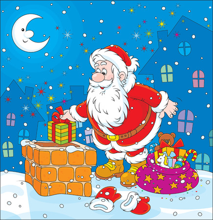 Santa on a housetop Vector