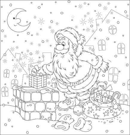 stove pipe: Santa Claus putting his holiday gifts into a chimney