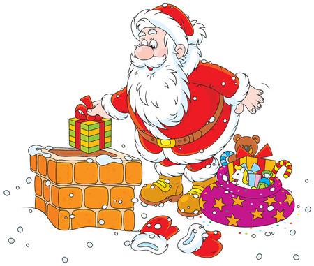 Santa Claus putting his holiday gifts into a chimney Vector