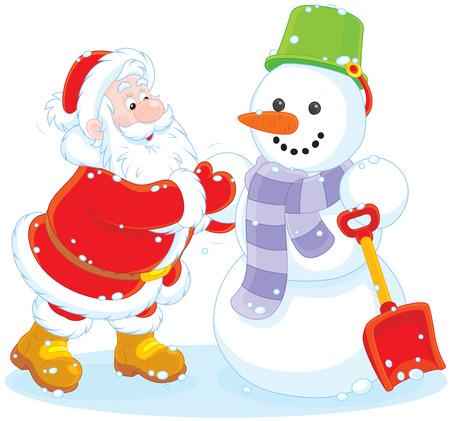 moroz: Santa and snowman