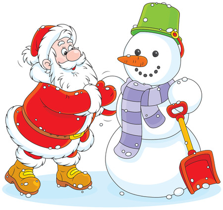 father christmas: Father Christmas making a funny smiling snowman Illustration