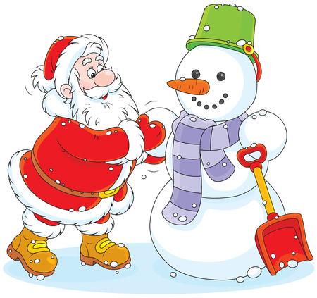 pere noel: Le Père Noël fait un bonhomme de neige souriant drôle