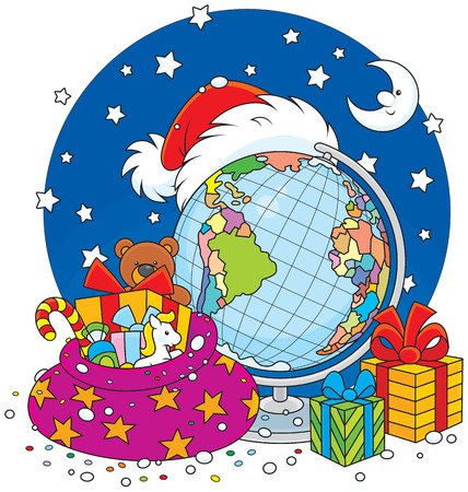 night before christmas: Santa Claus hat with Christmas gifts, globe and moon Illustration
