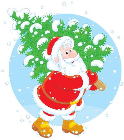 moroz: Santa with a Christmas tree