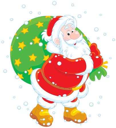 moroz: Santa with his bag of gifts