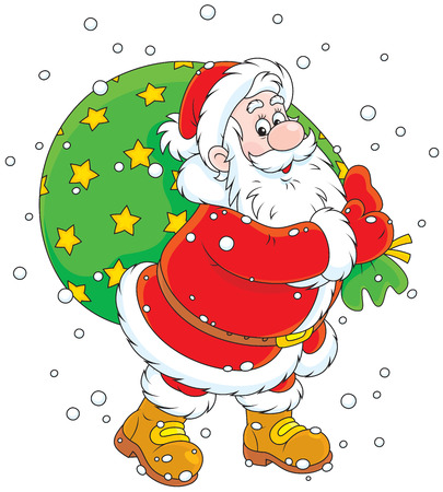 moroz: Santa Claus carrying a big bag of Christmas gifts