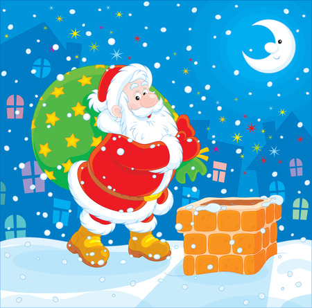 stove pipe: Santa Claus with his bag of Christmas gifts