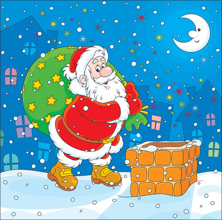 moroz: Santa Claus with his bag of Christmas gifts