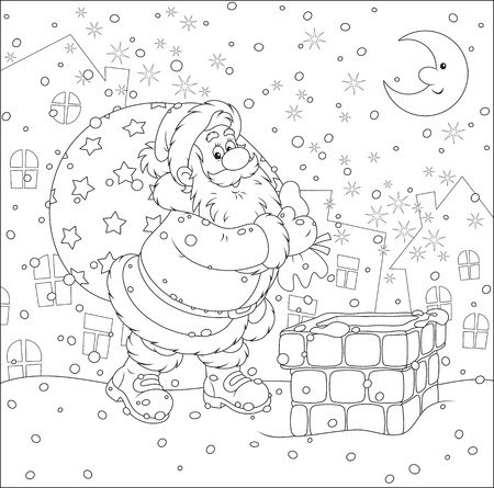 housetop: Santa Claus with his bag of Christmas gifts