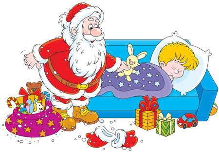 Santa Claus putting his gifts by the bed of a sleeping boy Illustration