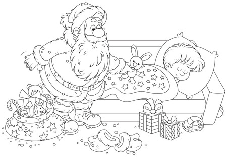 Santa Claus putting his gifts by the bed of a sleeping boy Vector