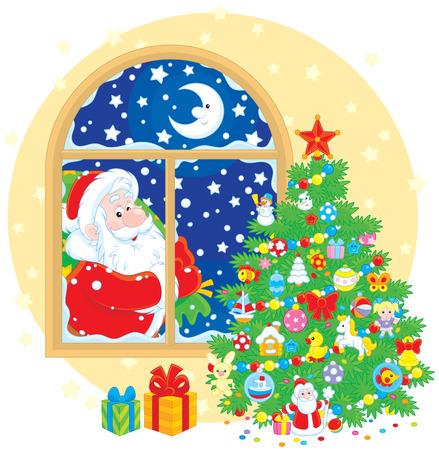 bolsa de regalo: �rbol de navidad y Pap� Noel con su bolsa de regalo Vectores