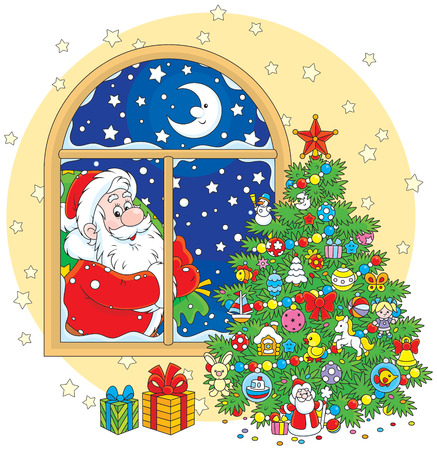 night before christmas: Christmas tree and Santa Claus with his gift bag