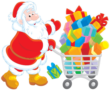 moroz: Santa Claus with a shopping cart of Christmas gifts