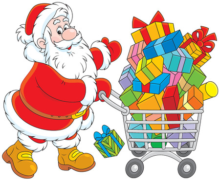 purchased: Santa Claus with a shopping cart of Christmas gifts