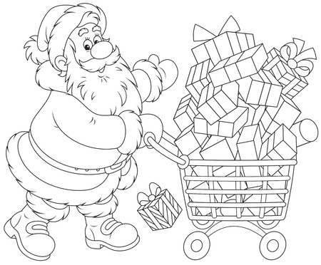 bought: Santa Claus with a shopping cart of Christmas gifts