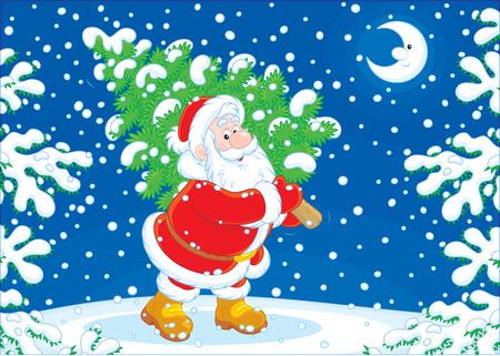 moroz: Santa Claus with a Christmas tree