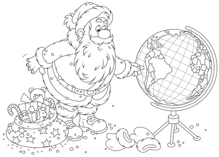 saint nick: Santa Claus planning his route for delivery of Christmas gifts