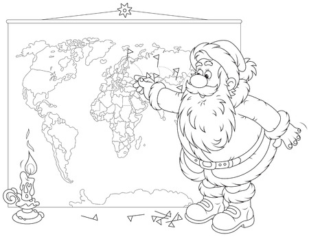 kringle: Santa Claus planning his route for delivery of Christmas gifts