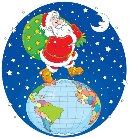 Santa Claus walking on the globe with his bag of gifts Vector