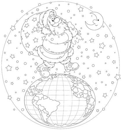 night before christmas: Santa Claus walking on the globe with his bag of gifts