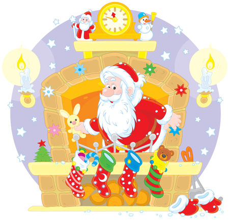 cartoon fireplace: Santa Claus with Christmas gifts in the fireplace