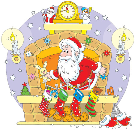 night before christmas: Santa Claus with Christmas gifts in the fireplace