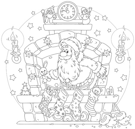 moroz: Santa Claus with Christmas gifts in the fireplace