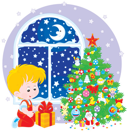 christmassy: Boy with a Christmas gift Illustration