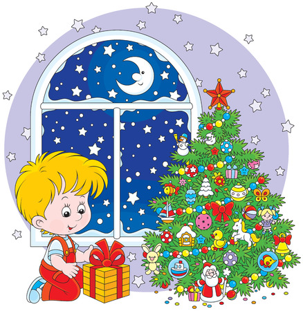 night before christmas: Boy with a Christmas gift Illustration
