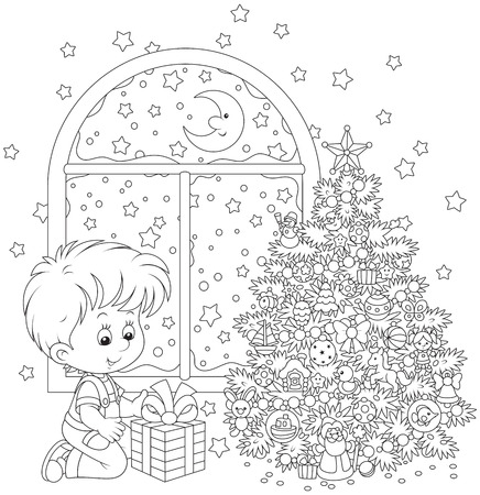 Boy with a Christmas gift Vector