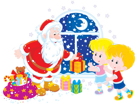moroz: Santa Claus giving Christmas gifts to children