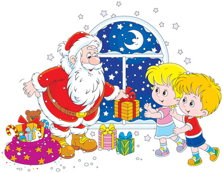 night before christmas: Santa Claus giving Christmas gifts to children