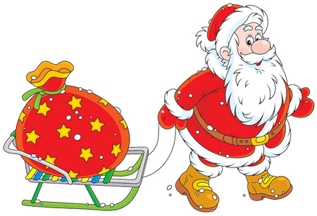 moroz: Santa Claus carrying a bag of Christmas gifts on his sledge