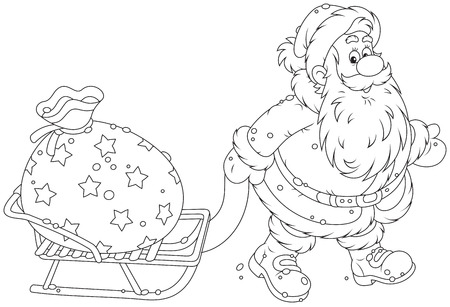 nicholas: Santa Claus carrying a bag of Christmas gifts on his sledge