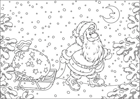 sledging: Santa carrying a big bag of Christmas gifts on his sledge