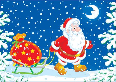 sledging: Santa carrying a big bag of Christmas gifts on his sledge