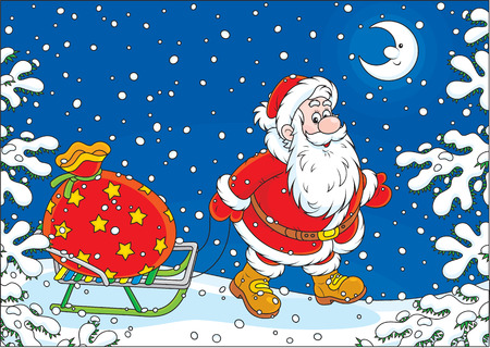 night before christmas: Santa carrying a big bag of Christmas gifts on his sledge