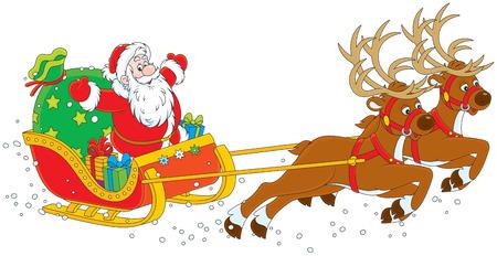 papa noel en trineo: Trineo de Santa Claus Vectores