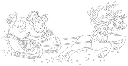 santa sleigh: Sleigh of Santa Claus Illustration