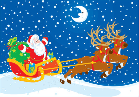 night before christmas: Sleigh of Santa Claus Illustration