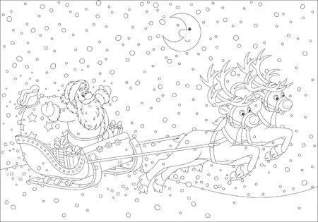 Sleigh of Santa Claus Vector