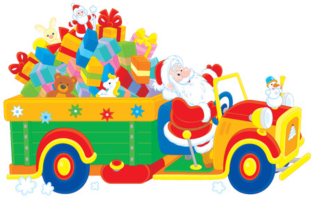 moroz: Santa Claus carrying Christmas presents on his truck Illustration