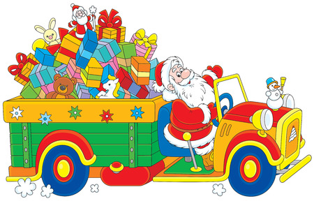 grandfather frost: Santa Claus carrying Christmas presents on his truck Illustration