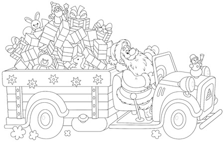 Santa Claus carrying Christmas presents on his truck Illustration