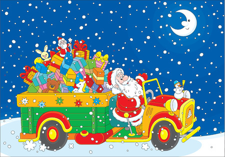 moroz: Santa with Christmas gifts on his truck