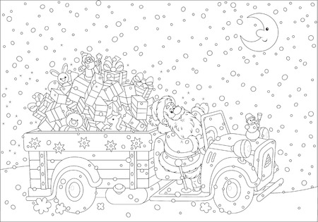 Santa with Christmas gifts on his truck Vector